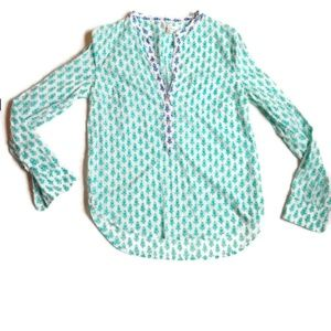 J. Crew Long Sleeve Teal Floral Button Blouse 4